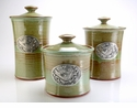 Crosby & Taylor Pewter Bird Canister Set - Pistachio