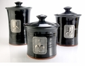 Crosby & Taylor Pewter Fleur de Lys Canister Set - Blackberry