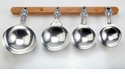 Crosby & Taylor Pewter Fleur de Lys Measuring Cups with Cherry Wood Display Strip