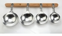 Crosby & Taylor Pewter Vineyard Measuring Cups with Cherry Wood Display Strip