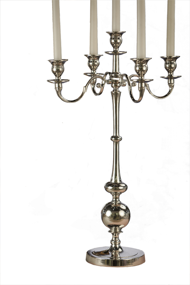 Nickel 5 Light Candle Stand Home Decor