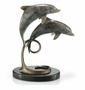 Double Dolphins Sculpture on Marble Base by SPI Home
