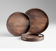 Dupre Round Walnut Wood Trays by Cyan Design