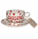 Emma Bridgewater Pink Hearts Darling Breakfast Cup & Saucer