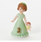 Enesco Growing Up Girls Brunette Age 3 Birthday Girl Figurine