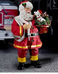 Fabriche Santa Occupations Figure - Fireman Santa Claus with Dog