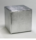 Faux Reptile Silver Leather Ottoman by Cyan Design