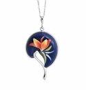 Franz Collection Bird of Paradise Rhodium plated brass & porcelain necklace