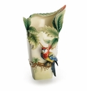 Franz Collection Paradise Calling Macaw Bird Porcelain Large Vase