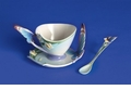 Franz Collection Porcelain Butterfly Cup, Saucer & Spoon Set