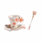 Franz Collection Porcelain Four Seasons - Plum Blossom Cup, Saucer & Spoon Set