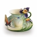 Franz Collection Porcelain Question Mark Butterfly Cup & Saucer Set