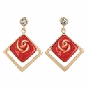 Franz Collection Porcelain Red Rose Earrings