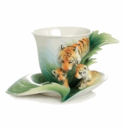Franz Collection Porcelain Safari Jungle Beauties Tiger Baby Porcelain Cup & Saucer Set