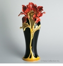 Franz Collection Porcelain Striking Vermillion Peony Vase