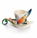 Franz Collection Tiger Swallowtail Butterfly Porcelain Cup & Saucer Set