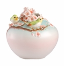 Franz Porcelain Beautiful Orchard - Japanese White-Eye On Cherry Tree Vase