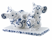 Franz Porcelain Blissful Blessings Blue & White Mouse Figurine