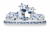 Franz Porcelain Cheerful Life Blue & White Cow Figurine