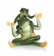 Franz Porcelain Collection Amphibia Frog Father & Son Porcelain Figurine