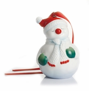 Franz Porcelain Collection Holiday Greetings Sculptured Porcelain Christmas Snowman Ornament