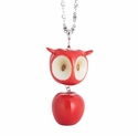 Franz Porcelain Collection Red Apple Owl Design Rhodium Plated Brass And Sculptured Porcelain Necklace