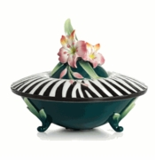 Franz Porcelain Collection Safari Zebra Porcelain Covered Box