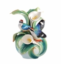 Franz Porcelain Happy Encounter - Blue-Winged Pitta Vase