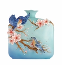 Franz Porcelain Jovial Bluebird And Cherry Blossom Vase