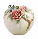 Franz Porcelain Joyful Spring - Blue Chickadee And Camellia Vase