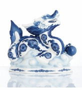 Franz Porcelain Lucky Dragon Blue & White Dragon Figurine