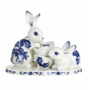 Franz Porcelain Rabbit's Spring Welcome Blue & White Rabbit Figurine