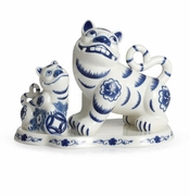 Franz Porcelain The Tigers Of Fortune Blue & White Tiger Figurine
