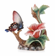Franz Porcelain Wonderful Life Butterfly Hibiscus Figurine