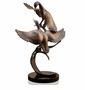 Gallery Brass and Marble Ducks Taking Wing Sculpture by SPI Home