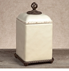 GG Collection Gracious Goods Large Barcelona Cream Canister with Metal Base