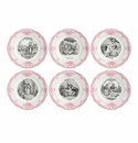 Gien Mariage A La Campagne Rose Assorted Dessert Plates Set of 6