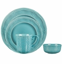 Gien Pont Aux Choux Turquoise 4 Piece Dinnerware Placesetting