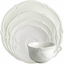 Gien Rocaille White 5 Piece Dinnerware Placesetting