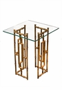 Glass Top Bamboo Float Accent Table Home Decor