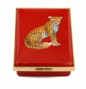 Halcyon Days Magnificent Wildlife Leopard - Red Enameled Box