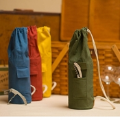 Henley Over the Shoulder Canvas Wine Tote-Green Khaki
