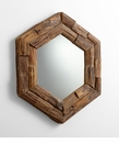Hexagon Rustic Pecan Wood Mirror by Cyan Design