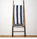 in2green Throws Feathered Stripe Cobalt with Marine Border Throw