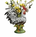 """Intrada Italy 23"""" Black & White Rooster Vase"""