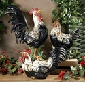 """Intrada Italy Campagna 22"""" Black & White Rooster Statue"""