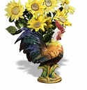 """Intrada Italy Campagna 23"""" Rooster with Wheat Cachepot"""