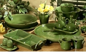"Intrada Italy Provenza Green Cream and Sugar Set 4""H"