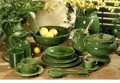 Intrada Italy Provenza Green Espresso Cups and Saucers Set of 4