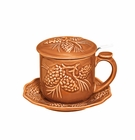 J. Willfred by Andrea by Sadek Pinecone Rust Majolica Covered Tea Mug